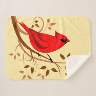 Manta Sherpa Cardenal rojo estilizado en ramas del remolino