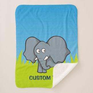 Manta Sherpa Dibujo animado gris del elefante