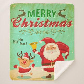 Manta Sherpa Felices Navidad del vintage que bailan Santa y el