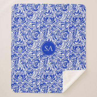 Manta Sherpa Flores azules hermosas