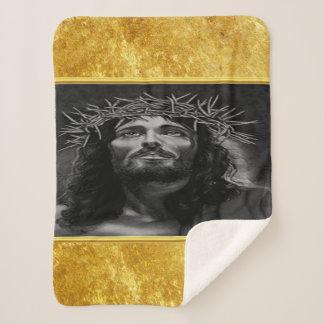 Manta Sherpa Jesús que mira en cielo con un diseño del efecto