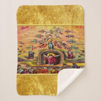 Manta Sherpa La puerta del cielo con una textura y un Jesús del