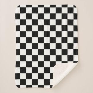 Manta Sherpa Modelo a cuadros blanco y negro del tablero de
