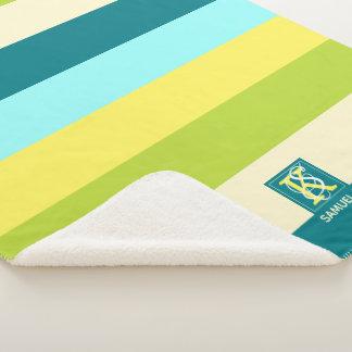 Manta Sherpa Monograma colorido fresco y feliz de las rayas