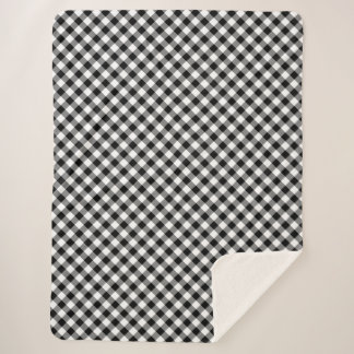 Manta Sherpa Tela escocesa blanco y negro diagonal acogedora de