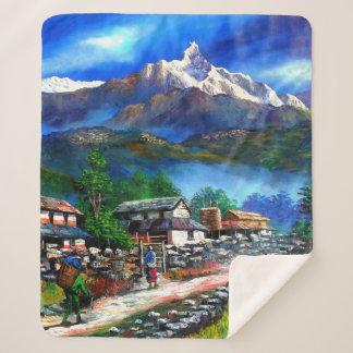 Manta Sherpa Vista panorámica de la montaña Nepal de Everest