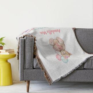 Manta Stats blanco del nacimiento de madera y de la niña