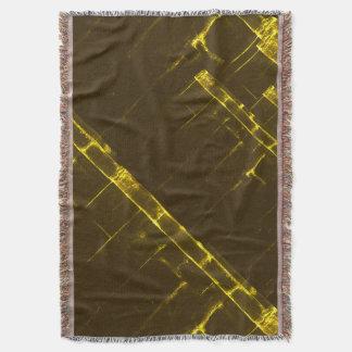 Manta Tejida Armadura geométrica amarilla rústica del batik de