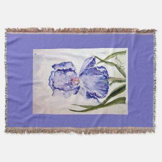 Manta Tejida Arte de la acuarela del iris del bígaro