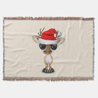 Manta Tejida Ciervos del bebé que llevan un gorra de Santa