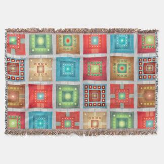 Manta Tejida Cuadrados combinados del tiro w/multicolored