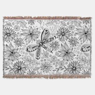 Manta Tejida Doodle de la libélula y de las flores