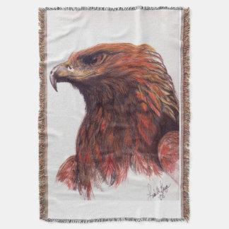 Manta Tejida Eagle de oro majestuoso