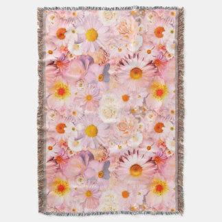 Manta Tejida El rosa florece la primavera nupcial del boda