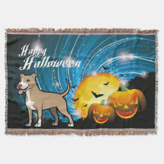Manta Tejida Feliz Halloween de Pitbull Terrier del americano