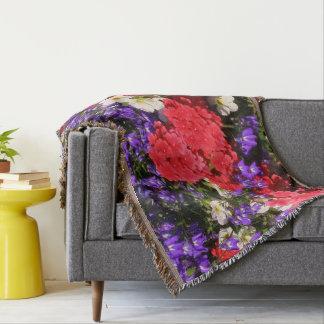 Manta Tejida Flores anuales púrpuras, rojas, y blancas
