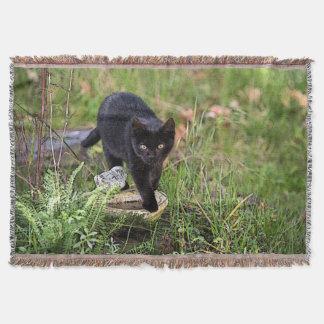 Manta Tejida Gato negro