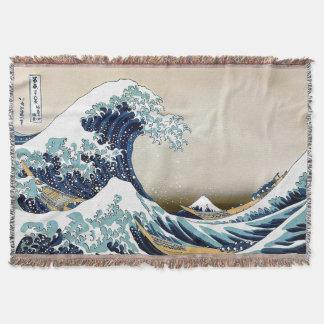 Manta Tejida Gran onda de alta calidad de Kanagawa por Hokusai