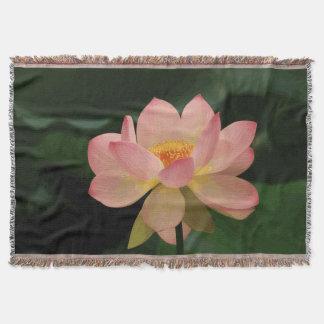 Manta Tejida Jardín verde enorme Lotus rosado suave del zen