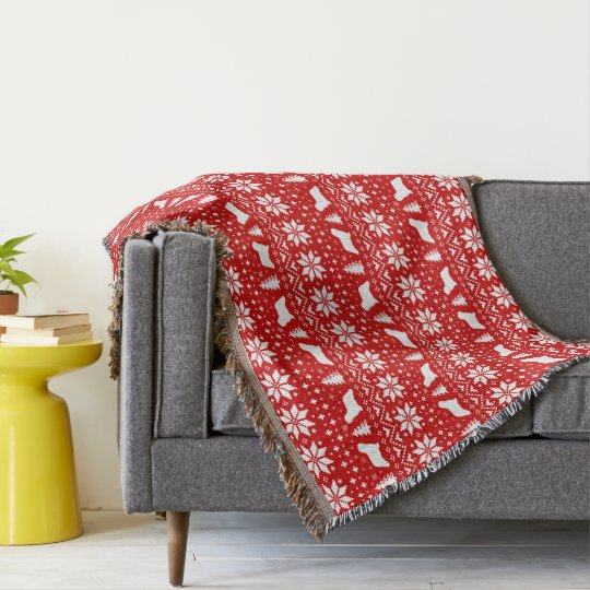 Manta Tejida Komondor siluetea rojo del modelo del navidad