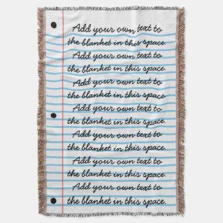 Manta Tejida La mirada alineada del papel del cuaderno añade su