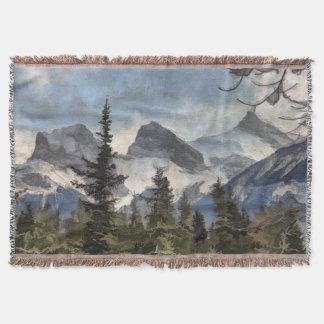 Manta Tejida Las tres hermanas - montañas rocosas canadienses