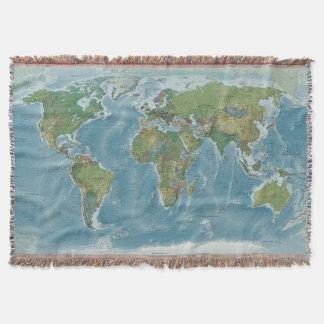 Manta tejida mapa del mundo - tonos de la tierra