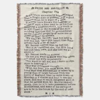 Manta Tejida Orgullo de Jane Austen y cita de la literatura del