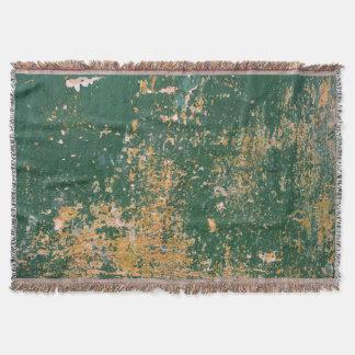 Manta Tejida pared vieja rasguñada grunge del verde de la