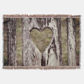 Manta Tejida Parte posterior de madera tallada corazón de la