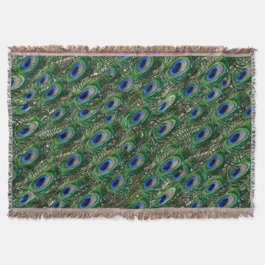 Manta Tejida plumas verdes salvajes del pavo real