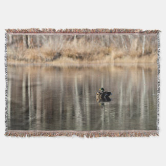 Manta Tejida Reflexiones de los patos y del árbol del pato