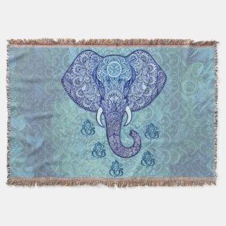 Manta Tejida Señor-Ganesh-símbolo de la India de la alheña