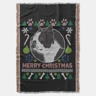 Manta Tejida Suéter feo del navidad de la raza del perro de