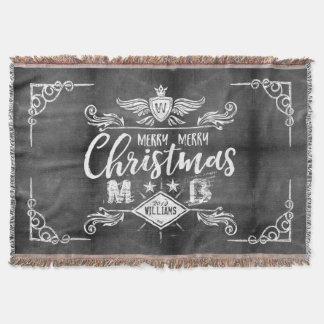 Manta Tejida Tipografía retra de las Felices Navidad de la