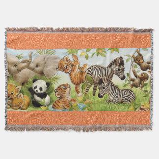 Manta Tejida Tiro de encargo tejido del bebé de la selva
