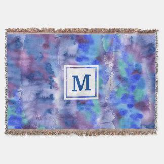 Manta Tejida Trullo púrpura azul pintado a mano abstracto de la