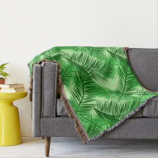 Manta Tejida Verde lima de hoja de palma de la impresión, de la