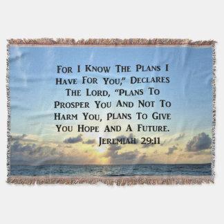 MANTA TEJIDA VERSO HERMOSO DE LA ESCRITURA DEL 29:11 DE