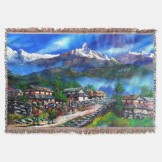 Manta Tejida Vista panorámica de la montaña Nepal de Everest