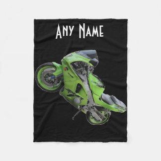 Manta verde de la motocicleta de la velocidad de