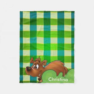 Manta verde personalizada del paño grueso y suave