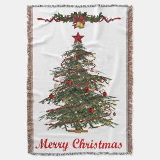manta vieja del tiro del árbol de navidad de la