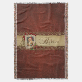 Manta Vintage Santa con el cordón del Poinsettia y del