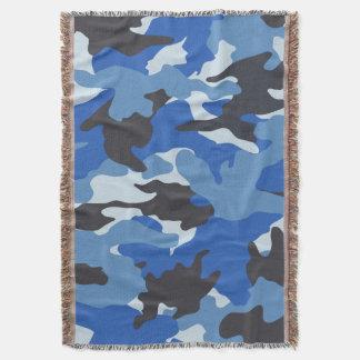 Mantas tejidas militares azules frescas del tiro manta