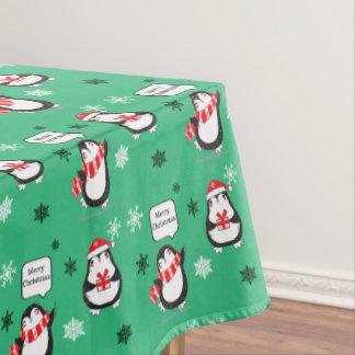 Mantel del día de fiesta del verde del pingüino de