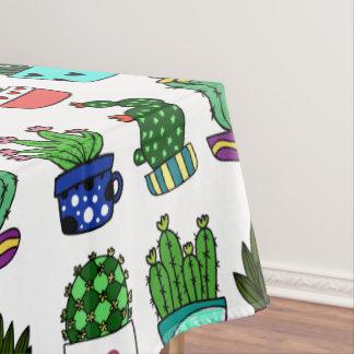 Mantel El cactus y los potes frescos modelan blanco y