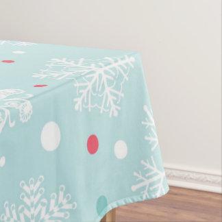 Mantel Navidad blanco del copo de nieve y rojo azules