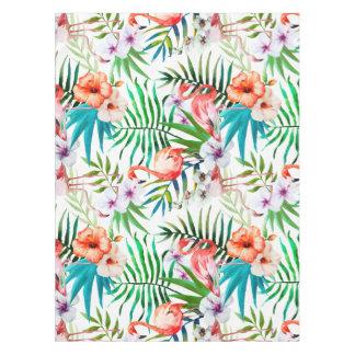 Mantel tropical del hibisco del flamenco