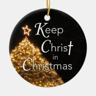 Mantenga a Cristo el ornamento del navidad,